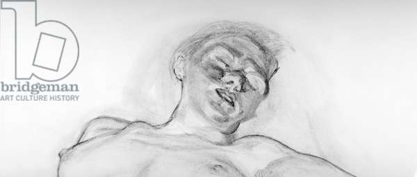 Sleeping Girl, 1988 (charcoal, turpentine & white) (b/w photo)