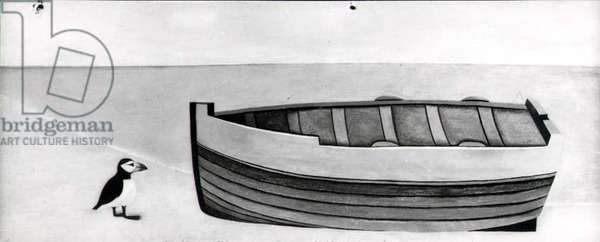 Beachscape, boat and bird, 1945-46 (panel) (b/w)