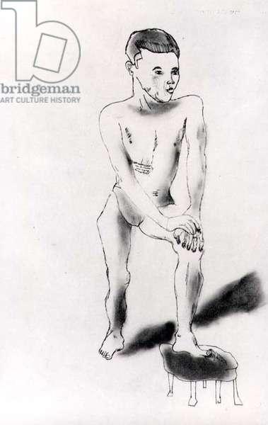 Boy Posing, 1941 (ink & oil on paper) (b/w photo)
