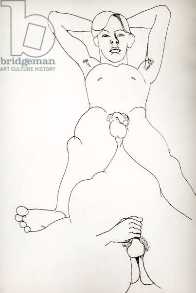 Boy on a Bed, 1943 (pen and ink on paper) (b/w photo)