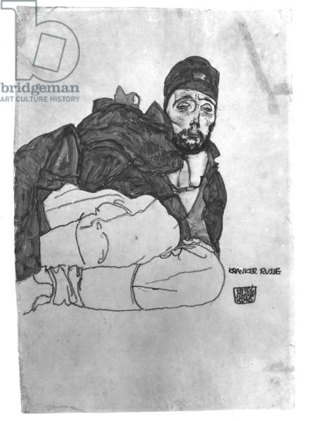 A Sick Russian, 1915 (pencil and w/c on paper) (b/w photo)