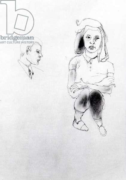 Felicity, 1941 (ink & oil on paper) (b/w photo)