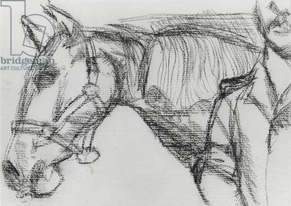 Horse and Trooper III, 1983 (charcoal) (b/w photo)