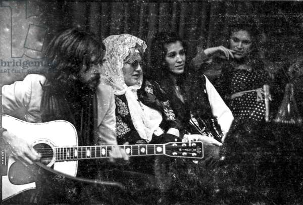 Eric Clapton, Bonnie Bramlett, Rita Coolidge in the Olympic studio with Delaney and Bonnie and Friends, London, 1969-70 (b/w photo)