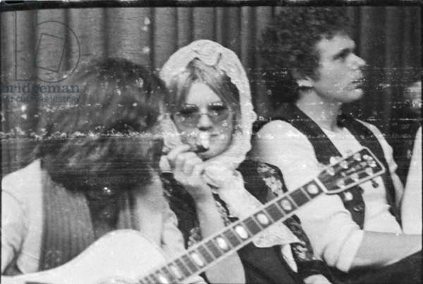 Eric Clapton and Bonnie Bramlett in the Olympic studio with Delaney and Bonnie and Friends, London, 1969-70 (b/w photo)