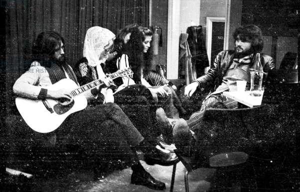 Eric Clapton, Bonnie Bramlett, Rita Coolidge and Delaney Bramlett in the Olympic studio with Delaney and Bonnie and Friends, London, 1969-70 (b/w photo)