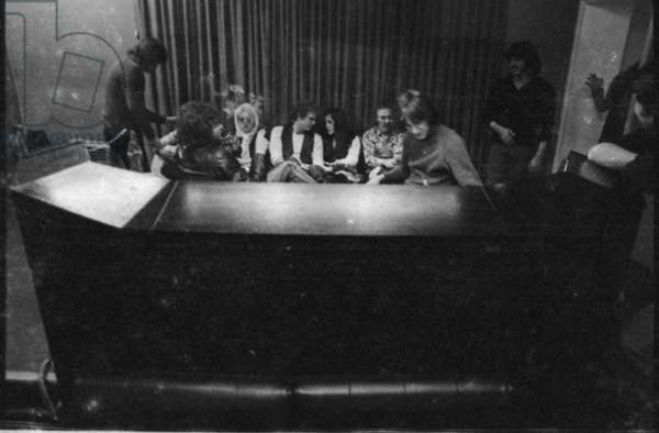 Eric Clapton in the Olimpic studio with Delaney and Bonnie and Friends, London, 1969-70 (b/w photo)