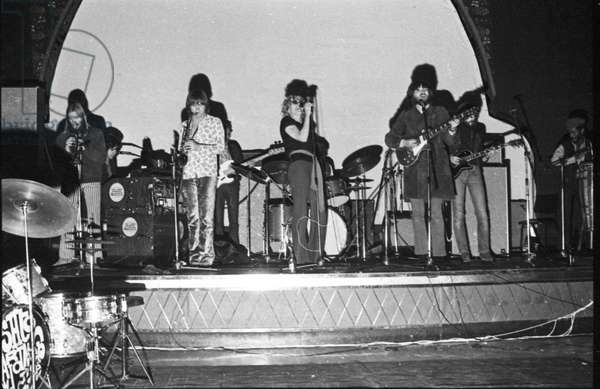Eric Clapton at Lyceum Theatre with Delaney and Bonnie and Friends, London, 1969-70 (b/w photo)