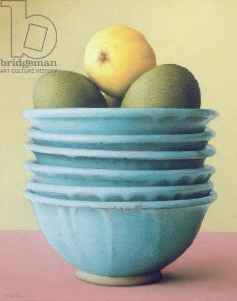 Six Bowls of Fruit (pastel on handmade paper)