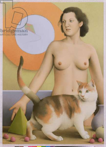 Nude, Cat and Kite, 1997 (pastel)