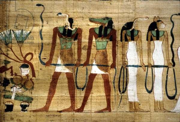 Bastet, Sebek and Meretseger deities, papyrus found in Tutankhamuns Tomb Egypt (photo)