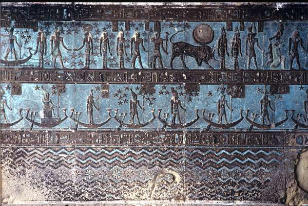 Ancient Egypt, Wall painting/carving, Astrological symbols from the ceiling of the outer hypostyle hall, Temple of Hathor, Dendera (photo)