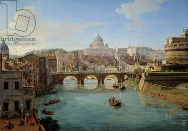 """View of the Basilica of St. Peter in Rome, detail of the painting """""""" View of the Castle of St. Angelo in Rome"""" Panorama of the city, the Tiber and the Castel Sant'Angelo, mausolee of Emperor Hadrian"""""""" Painting by Gaspare Vanvitelli (Gaspar van Wittel, Caspar Van Vitelli) (1653-1736) 18th century Rouen, museum of Fine Arts View of St. Peter's Basilica in Rome, detail from the painting """""""" View of the Castel Sant'Angelo (Saint Angelo) in Rome"""""""" Panorama of the city, the Tiber and the Castel Sant'Angelo, mausoleum of the Emperor Hadrian. Painting by Gaspare Vanvitelli (Gaspar van Wittel, Caspar Van Vitelli) (1653-1736), 18th century. Beaux-Arts Museum, Rouen, France"""