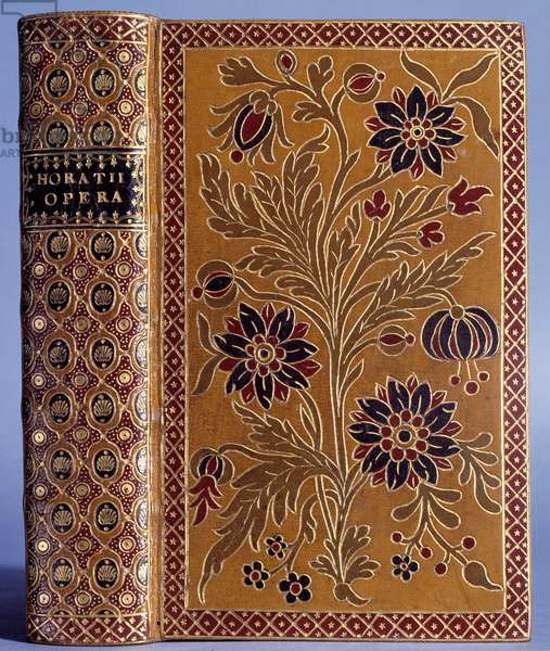 Mosaic binding. Cover of an edition of the works of Horace (-65 -8), Latin poet) made by Antoine Michel Padeloup (1685-1758), 1733. Paris, Musee Du Pete Palais