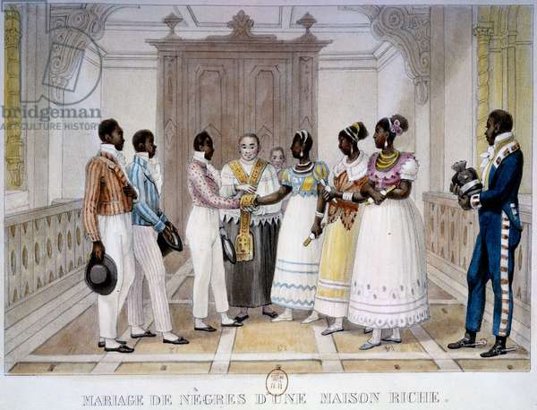 "Wedding of negres of a rich house Lithography by Thierry Freres from """" Voyage Picturesque et Historique au Brazil"""" by Jean Baptiste Debret (1768-1848) 1839 Paris, B.N."