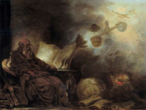 The dream of Plutarch or Plutarch making up the life of illustrious men The old man is represented in meditation. Painting by Jean Honore Fragonard (1732-1806), 18th century. Sun 0,24x0,31 m Rouen, musee des Beaux Arts