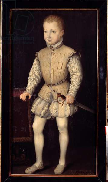 Portrait of Henry IV of Navarre (1553-1610), a child at the age of 4, during his stay in Paris with his parents in 1557, then Prince of Navarre Painting by Francois Bunel II (circa 1552-before 1599). 1557. Dim. 1,25x0,64 m. Versailles, Castles of Versailles and Trianon