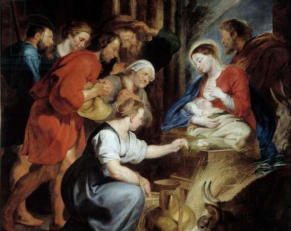 The Adoration of Shepherds Detail. Painting by Pierre Paul (Pierre-Paul) Rubens (or Peter Paul or Petrus Paulus) (1577-1640) 17th century Sun. 3,4x2,48 m Rouen, Musee des Beaux Arts