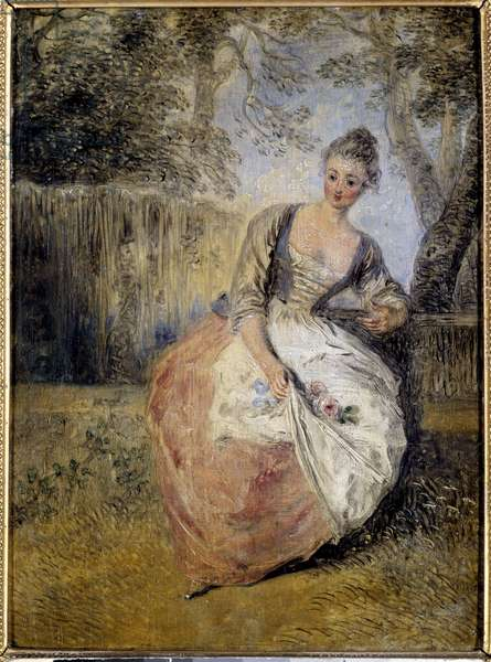 L'amante inquiete Painting by Jean Antoine Watteau (1684-1721) 18th century Sun. 0,24x0,17 m Chantilly, museum Conde
