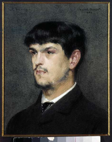 Portrait of the French composer Claude Debussy (1862-1918) Black stone and pastel painting by Marcel Andre Baschet (1862-1941) 1884 Dim 0,27 x 0,26 m