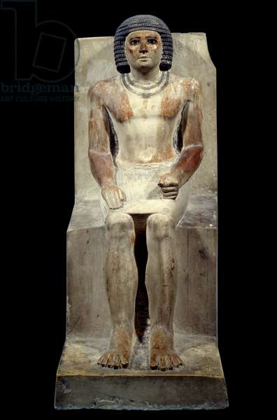 Egyptian antiquite: limestone statuette of Kai, administrator of the jackal. From Saqqara. Old empire, 5th dynasty. Paris, Louvre Museum