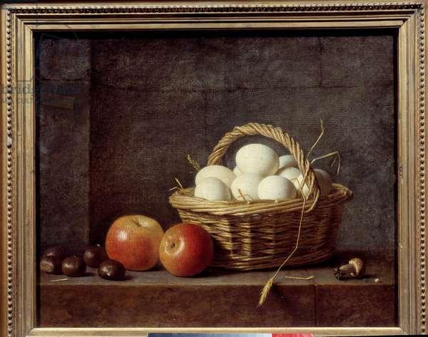 The egg basket. Painting by Roland Delaporte (1724 - 1793), 1788. Oil on canvas. Dim: 0.38 X 0.46m. Paris, Musee Du Louvre - The basket of eggs. Painting by Roland Delaporte (1724 - 1793), 1788. Oil on canvas. 0.38 X 0.46 m. Louvre Museum, Paris