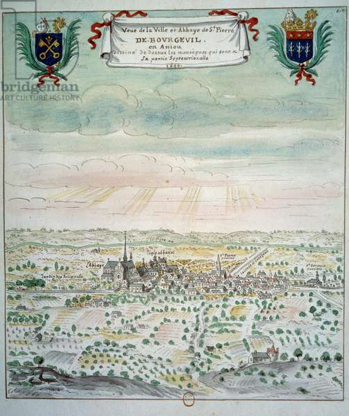 View of the city and the abbey of Saint Pierre de Bourgueil Watercolour from the French school. 1699 Paris, B.N.