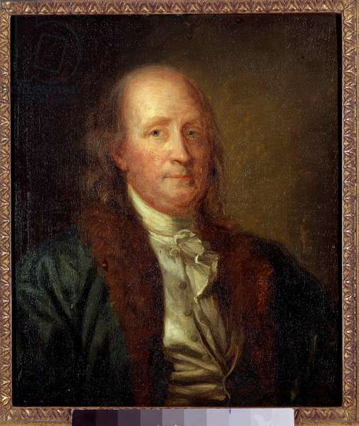 Portrait of Benjamin Franklin (1706-1790), American physicist, philosopher, and politician Painting by George Peter Alexandre Healy (1808-1894) Sun. 0,33x0,27 m.