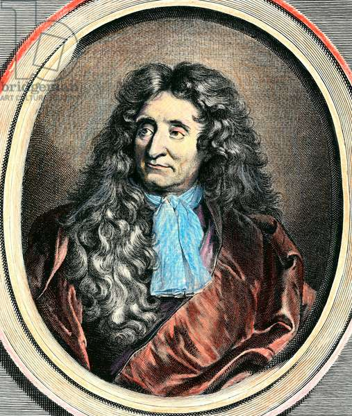 Portrait of Jean de La Fontaine (1656-1746), French writer. Engraving of the 17th century. Private collection.