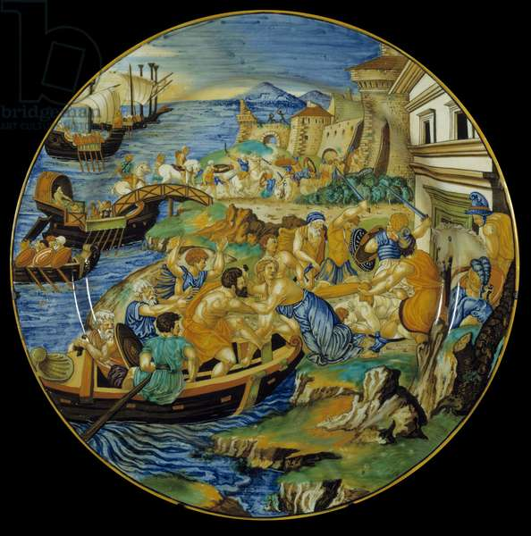 Iliad d'Homere: Faience dish made by Francesco Xanto Aveli (active around 1530/1540) representing the abduction of Helene by Paris. This is the episode that will unravel the Trojan War. Realize in Urbino. 1537. Paris, Louvre Museum