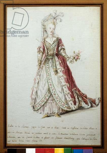 Sultan costume. 18th century watercolour. Paris, decorative arts