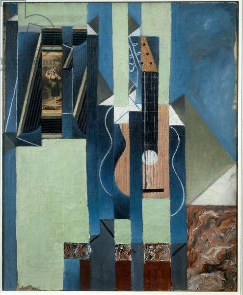 The guitar. Painting by Juan Gris (1887-1927) Ec. Esp., 1913. Oil and paper glue on canvas. Dim: 0,61 x 0,50m. Paris, Musee National D Art Moderne