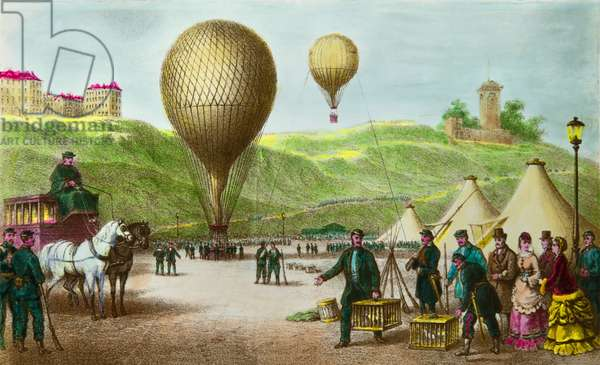 Departing a balloon post and passenger pigeons at the Paris siege in 1870, Privee Collection