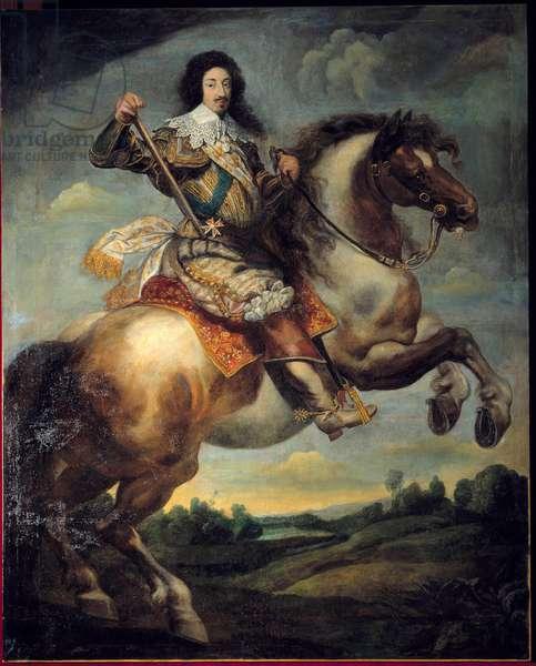 Equestrian portrait of Louis XIII (1601-1643) Painting by Claude Deruet (1588-1662) 17th century Sun. 3,13 x 2,40 m