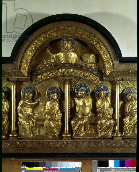 Romanesque art: altarpiece of Pentecote: antependium in wood, copper and enamel. Detail. From Stavelot (Meuse) Around 1160-1170. Paris, National Museum of the Middle Ages, Thermes de Cluny