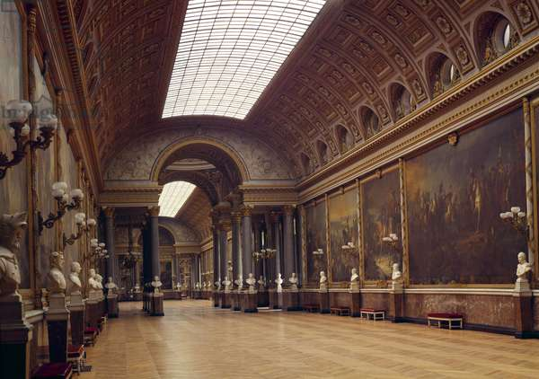 View of the Galerie des Battailles at the castle of Versailles.