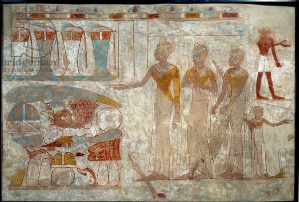 Ancient Egyptian Art: musicians at a banquet. Painting on silt (around 1400 BC).