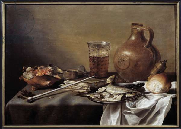 Still Life with Fish Painting by Pieter Claesz (1597-1661) 1644 Dim. 0,59 x 0,82 m Nantes, Musee des Beaux Arts