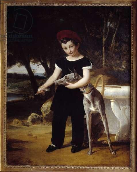 Portrait of the Duke of Bordeaux (1820-1883), Count of Chambord at the Chateau de Villeneuve l'Etang Painting by Edouard Picot (1786-1868) 1826 Rouen, Musee des Beaux Arts