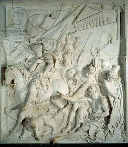 """Alexander the Great (356 BC-323 BC) meets the Greek philosopher Diogene the Cynic (413 BC-327 BC) in his barrel"""""""" Bas relief marble by Pierre Puget (1620-1694) 1693. From the Salle des cent Suisse (Louvre). Paris, Louvre Museum"""