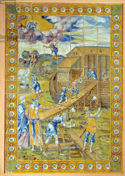 The construction of Noe's Ark. Left panel of the triptych representing 3 episodes of the deluge. Ceramic of Masseot Abaquesne (Known around 1526-Before 1564), 1550. Ceramic. Dim: 1.38 x 0.95m. Listen, National Renaissance Museum