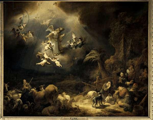 The announcement to the shepherds Painting by Govaert Flink (1615-1660) (ec.flam.) 1639 Sun. 1,6x1,96 m Paris, Musee du Louvre.
