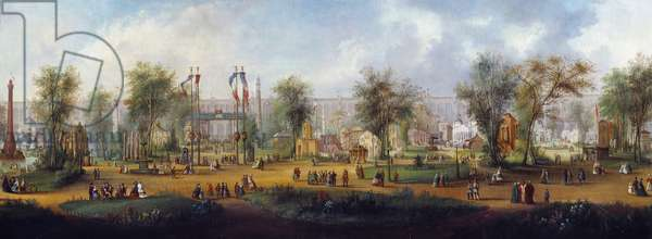 Panoramic view of the 1867 Universal Exhibition in Paris Anonymous painting. 1867 Sun. 0,49x2,9 m Paris, Musee Carnavalet