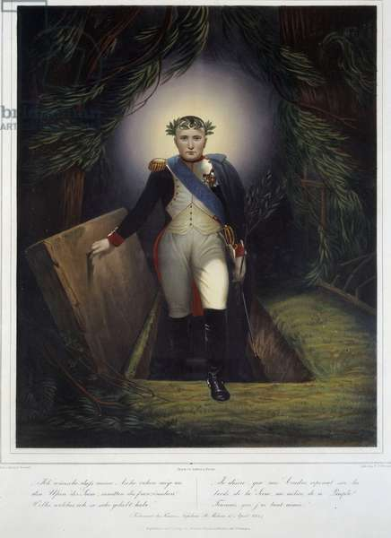 Portrait in foot of Napoleon I (1769 - 1821) from his tomb. Jean Jacques Werner (1791-1849) and Jean Pierre Marie Jazet (1788-1871), 1840. Colour engraving. Dim: 0.61 x 0.48m. Malmaison, Musee Du Chateau