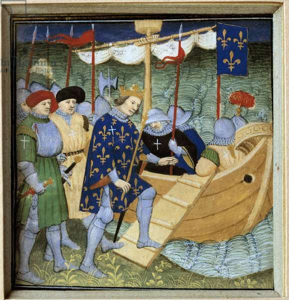 Embarkment from Saint Louis (Louis IX) (1214-1270) for the 7th Miniature Crusade of the French School, 15th century. Sun 0,08x0,07 m Paris, musee du Louvre