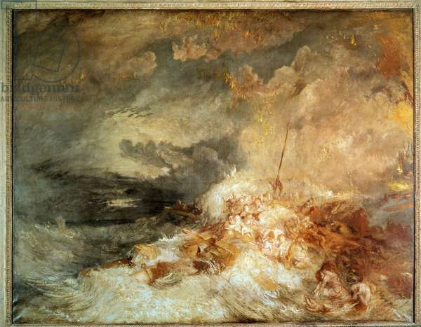 A Disaster at Sea. c.1835 - Sinking in the open sea. Painting by Joseph Mallord William Turner (1775-1851), 19th century. London, Tate Gallery