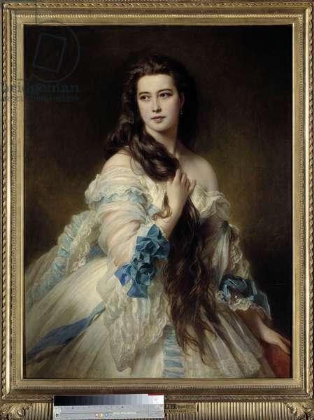 Portrait of Madame Barbe by Rimsky Korsakow (Rimsky-Korsakow) (1833-1878). Painting by Franz Xaver Winterhalter (1806-1873) 1864. Dim. 1,7x0,9 m. Paris, Musee d'Orsay - Portrait of Madame Barbe by Rimsky Korsakov (Rimsky-Korsakov) (1833-1878). Painting by Franz Xaver Winterhalter (1806-1873), 1864. 1.7 x 0, 9 m. Orsay Museum, Paris