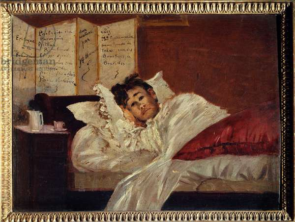 Arthur Rimbaud (1854-1891) alite, injured by Verlaine in 1873. Painting by Jeff Rosman (1853 -?) , 1873. Oil on mahogany. Charleville, Musee Rimbaud.