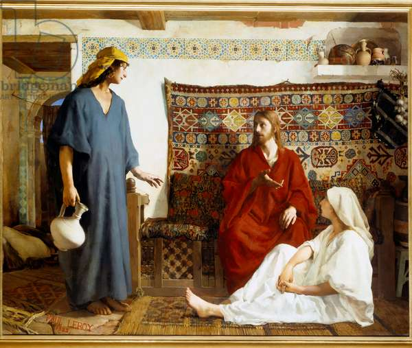 Jesus at Marthe and Mary - Sainte Marthe, disciple of Jesus Christ and her sister Marie de Bethanie - Painting by Paul Alexandre Leroy (1860-1942), 1882 - Rouen, Musee Des Beaux Arts