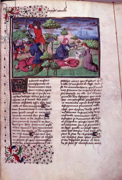 """Murder scene of two men whose murderers cut their head off. Page of a manuscript in French of the """"Decameron"""""""" by Giovanni Boccaccio dit Jean Boccace (1313-1375), Italian writer, enluminated by the Master of Mansel. 1450. Paris, Library of the Arsenal"""